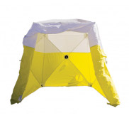 Inter-locking tent-Ground Tent, yellow and white, 6' x 6' x6' H, with cable slot
